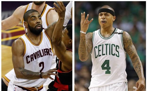 Kyrie Irving e Isaiah Thomas intercambian camisetas. /Efe