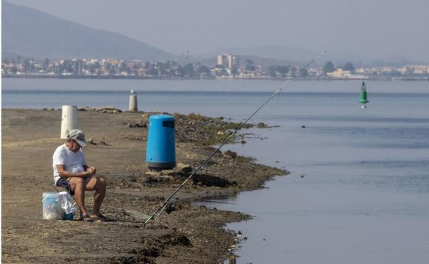 A fisherman in the Los Nietos area, last week.
