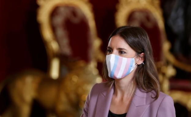 The Minister of Equality, Irene Montero, during the reception offered by the Kings